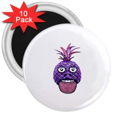 Funny Fruit Face Head Character 3  Magnets (10 Pack)  by dflcprints