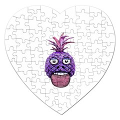 Funny Fruit Face Head Character Jigsaw Puzzle (heart) by dflcprints