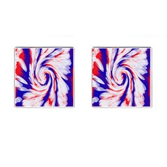Groovy Red White Blue Swirl Cufflinks (square) by BrightVibesDesign