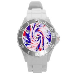 Groovy Red White Blue Swirl Round Plastic Sport Watch (l) by BrightVibesDesign
