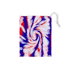 Groovy Red White Blue Swirl Drawstring Pouches (small)  by BrightVibesDesign