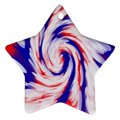 Groovy Red White Blue Swirl Ornament (star)  by BrightVibesDesign