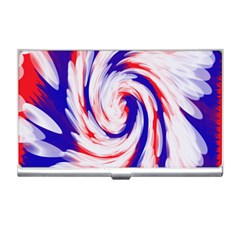 Groovy Red White Blue Swirl Business Card Holders by BrightVibesDesign