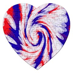Groovy Red White Blue Swirl Jigsaw Puzzle (heart) by BrightVibesDesign