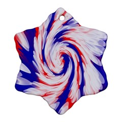 Groovy Red White Blue Swirl Ornament (snowflake)  by BrightVibesDesign