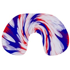 Groovy Red White Blue Swirl Travel Neck Pillows by BrightVibesDesign