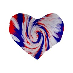 Groovy Red White Blue Swirl Standard 16  Premium Flano Heart Shape Cushions by BrightVibesDesign
