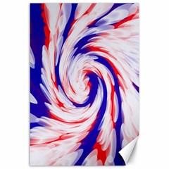 Groovy Red White Blue Swirl Canvas 24  X 36  by BrightVibesDesign