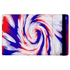 Groovy Red White Blue Swirl Apple Ipad 3/4 Flip Case by BrightVibesDesign