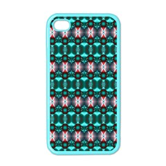 Fancy Teal Red Pattern Apple Iphone 4 Case (color) by BrightVibesDesign
