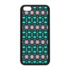 Fancy Teal Red Pattern Apple Iphone 5c Seamless Case (black) by BrightVibesDesign