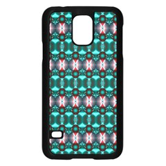 Fancy Teal Red Pattern Samsung Galaxy S5 Case (black) by BrightVibesDesign