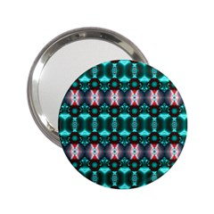 Fancy Teal Red Pattern 2 25  Handbag Mirrors by BrightVibesDesign
