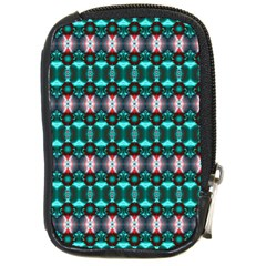 Fancy Teal Red Pattern Compact Camera Cases by BrightVibesDesign