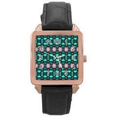Fancy Teal Red Pattern Rose Gold Leather Watch  by BrightVibesDesign