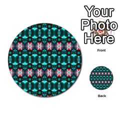 Fancy Teal Red Pattern Multi-purpose Cards (Round)  by BrightVibesDesign