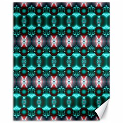 Fancy Teal Red Pattern Canvas 11  X 14   by BrightVibesDesign