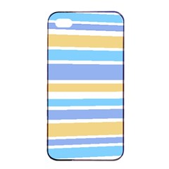 Blue Yellow Stripes Apple Iphone 4/4s Seamless Case (black) by BrightVibesDesign