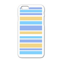 Blue Yellow Stripes Apple Iphone 6/6s White Enamel Case by BrightVibesDesign