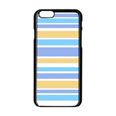 Blue Yellow Stripes Apple Iphone 6/6s Black Enamel Case by BrightVibesDesign