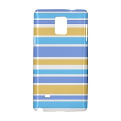 Blue Yellow Stripes Samsung Galaxy Note 4 Hardshell Case by BrightVibesDesign