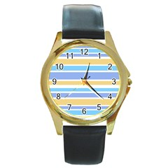 Blue Yellow Stripes Round Gold Metal Watch by BrightVibesDesign