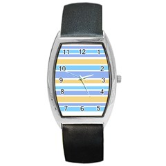 Blue Yellow Stripes Barrel Style Metal Watch by BrightVibesDesign