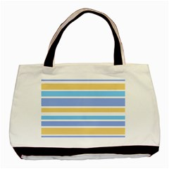 Blue Yellow Stripes Basic Tote Bag by BrightVibesDesign