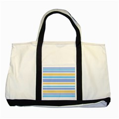 Blue Yellow Stripes Two Tone Tote Bag by BrightVibesDesign