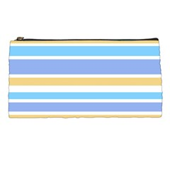 Blue Yellow Stripes Pencil Cases by BrightVibesDesign