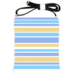Blue Yellow Stripes Shoulder Sling Bags by BrightVibesDesign