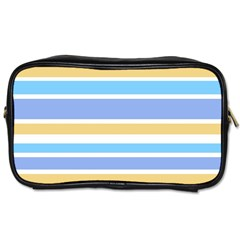 Blue Yellow Stripes Toiletries Bags by BrightVibesDesign