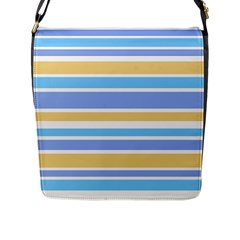 Blue Yellow Stripes Flap Messenger Bag (l)  by BrightVibesDesign