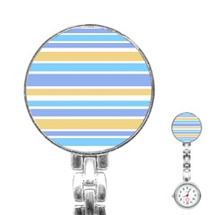 Blue Yellow Stripes Stainless Steel Nurses Watch by BrightVibesDesign