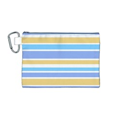 Blue Yellow Stripes Canvas Cosmetic Bag (M) by BrightVibesDesign