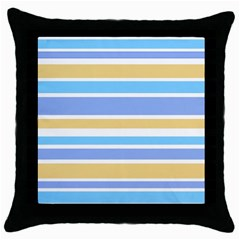 Blue Yellow Stripes Throw Pillow Case (Black) by BrightVibesDesign