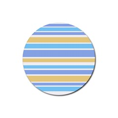 Blue Yellow Stripes Rubber Round Coaster (4 Pack)  by BrightVibesDesign
