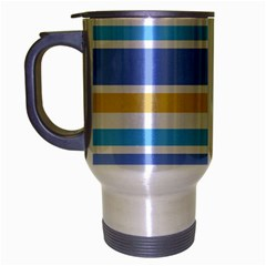 Blue Yellow Stripes Travel Mug (Silver Gray) by BrightVibesDesign