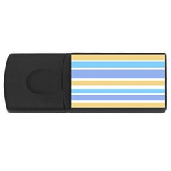 Blue Yellow Stripes Usb Flash Drive Rectangular (4 Gb)  by BrightVibesDesign