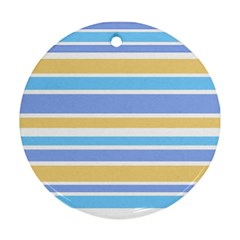Blue Yellow Stripes Round Ornament (two Sides)  by BrightVibesDesign