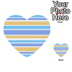 Blue Yellow Stripes Multi Purpose Cards (heart)  by BrightVibesDesign