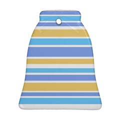 Blue Yellow Stripes Ornament (bell)  by BrightVibesDesign