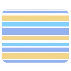 Blue Yellow Stripes Double Sided Flano Blanket (medium)  by BrightVibesDesign