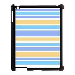 Blue Yellow Stripes Apple Ipad 3/4 Case (black) by BrightVibesDesign