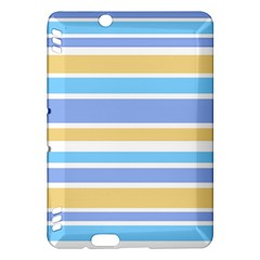 Blue Yellow Stripes Kindle Fire Hdx Hardshell Case by BrightVibesDesign