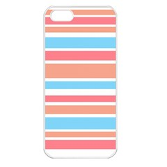 Orange Blue Stripes Apple Iphone 5 Seamless Case (white) by BrightVibesDesign
