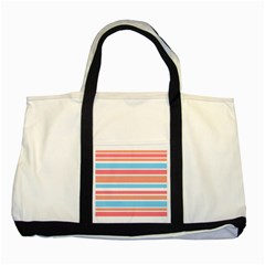 Orange Blue Stripes Two Tone Tote Bag by BrightVibesDesign