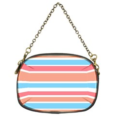 Orange Blue Stripes Chain Purses (two Sides)  by BrightVibesDesign