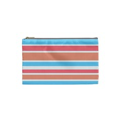 Orange Blue Stripes Cosmetic Bag (small)  by BrightVibesDesign