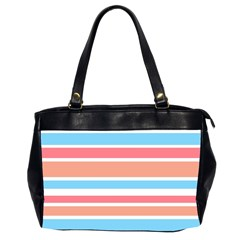 Orange Blue Stripes Office Handbags (2 Sides)  by BrightVibesDesign